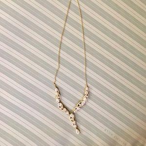 Elegant Nadri Y-drop Pear Drop Necklace in Gold